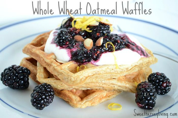 Whole Wheat Oatmeal Waffles- Topped with yogurt and fresh berries! How ...