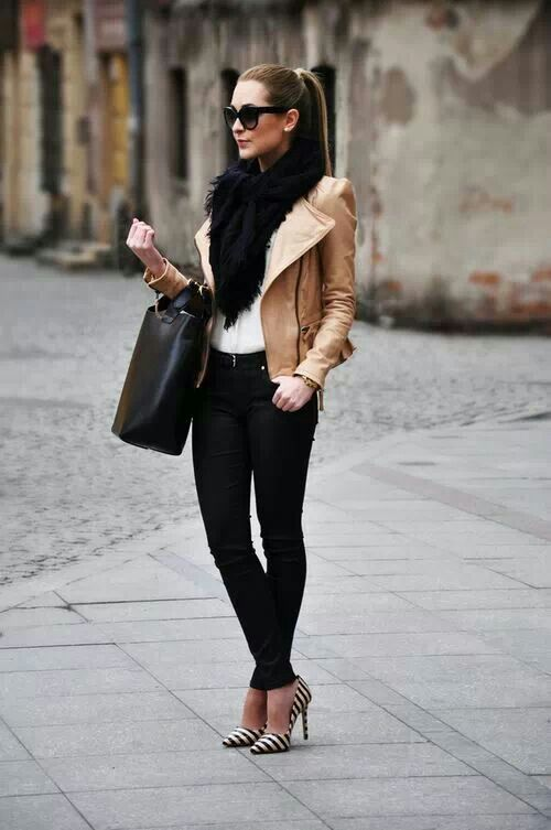 What: Nude blazer paired with a simple top, heavy black scarf, black