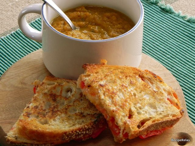 Roasted Carrot Soup with Artisan Grilled Cheese Sandwiches