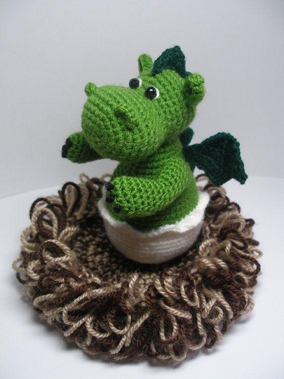 Baby Dragon in its Nest - pdf Crochet Pattern