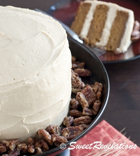 Brown butter pumpkin layer cake with brown sugar cream cheese icing