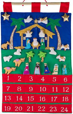 Reginas Catholic Gifts - Fabric Advent Calendar-Nativity, $42.50 (http://www.reginascatholicgifts.com/fabric-advent-calendar-nativity/)