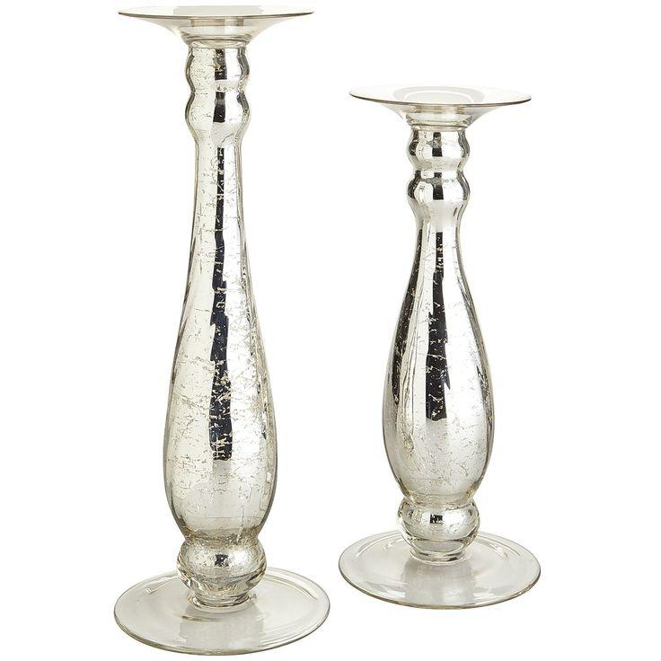 Mercury Glass Pillar Candle Holders Silver