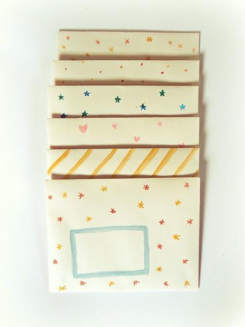 handpainted envelopes, craft, DIY,