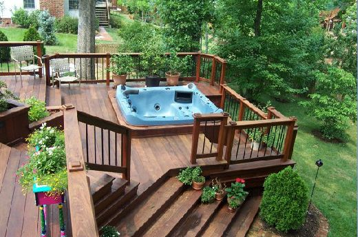 Hot Tub Built Into Deck Furniture Decoration Ideas For