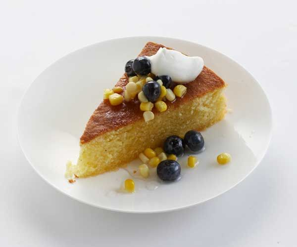 Sweet Corn Cake with Blueberry-Lavender Compote recipe