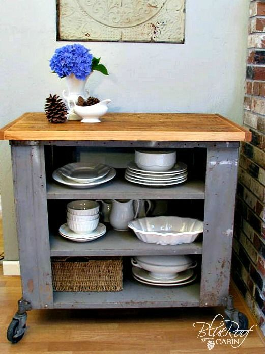 blue roof cabin DIY Industrial Kitchen Island or Cart