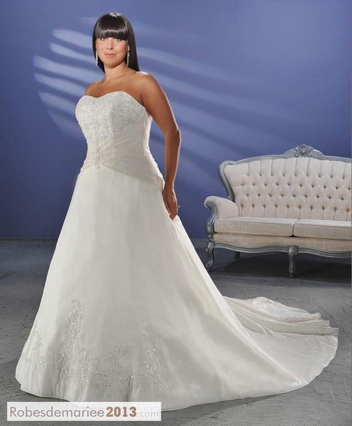 ... , bretelles chapelle Appliques Floor-length Plus Size robe de mariée