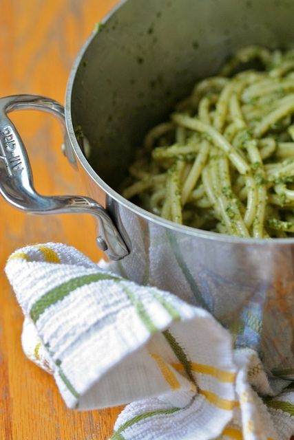 Pot of pasta with nettle pesto by jess.t, via Flickr
