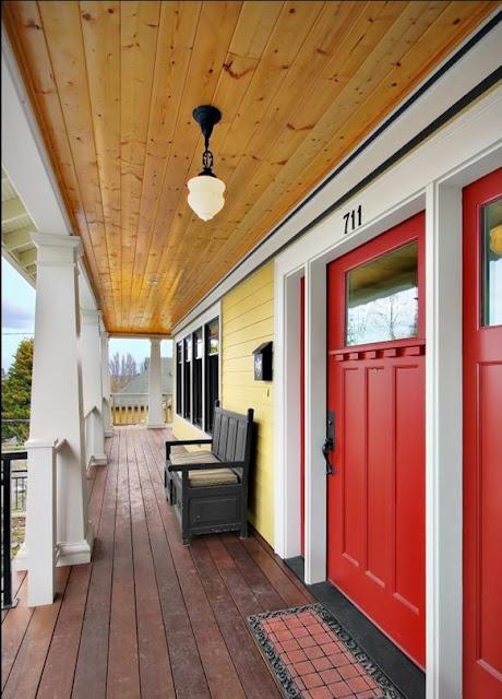 Craftsman Style Red Front Door