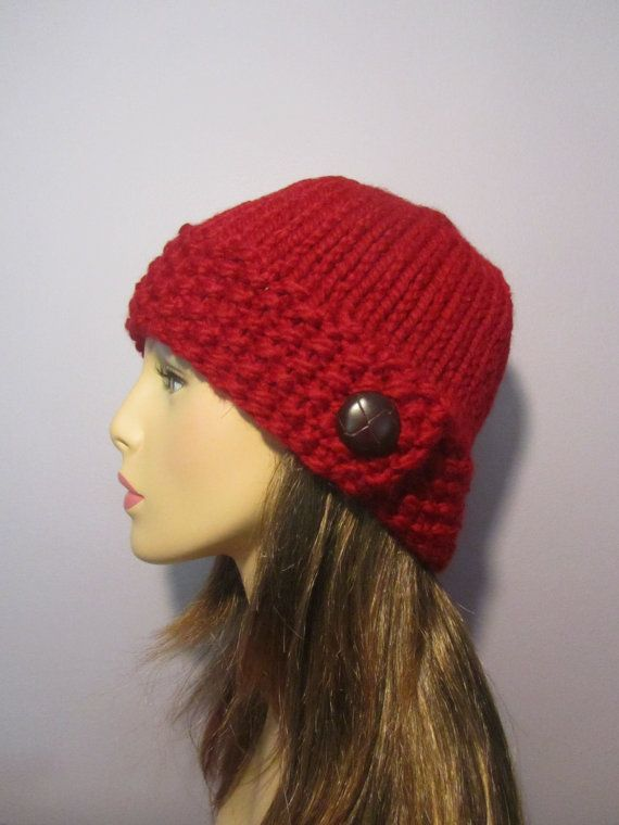 Knit Hat With Brim Pattern Free : PATTERN Button Brim Knit Hat, PDF Pattern, Knit Hat Pattern