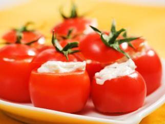 Mozz/Goat cheese stuffed cherry tomatoes | Tastey | Pinterest