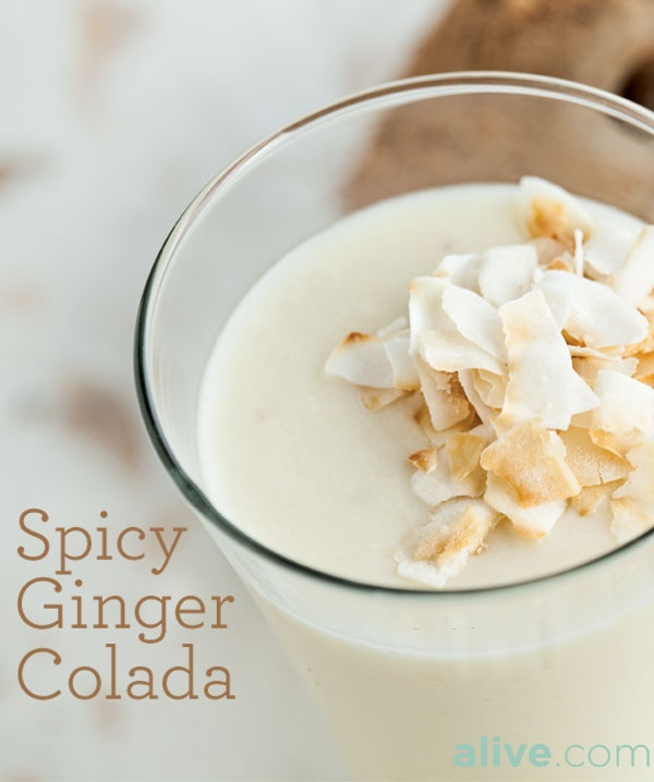 Toss banana, pineapple, ginger, coconut milk and ice cubes into the ...