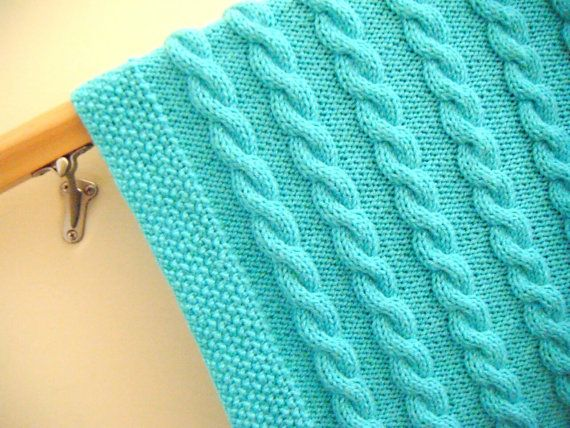 Knit Pattern Baby Blanket Cable : Baby blanket ,knitted, cable pattern, very soft, turquoise