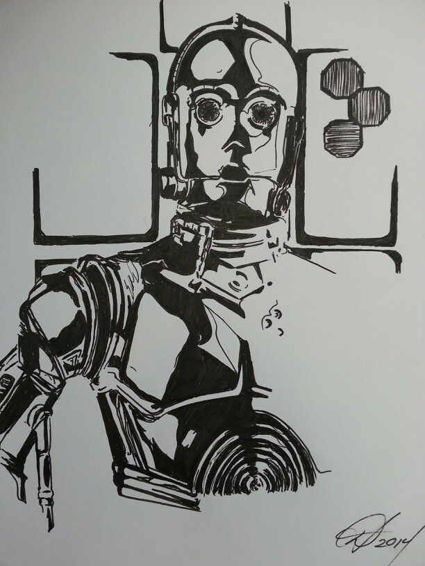 3p0 protocol droid star wars pen drawing my drawings pinterest