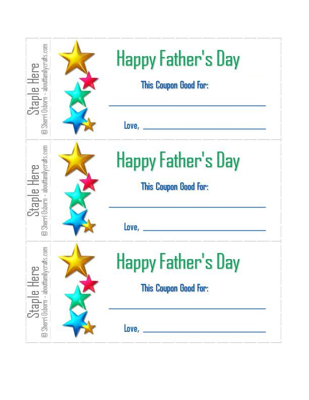 coupons for father's day ideas