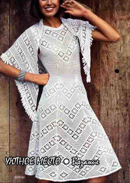 Вечерние платья вязанные со схемами и описанием