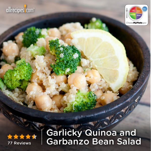 Garlicky Quinoa and Garbanzo Bean Salad from Allrecipes.com #grain #veggies #protein