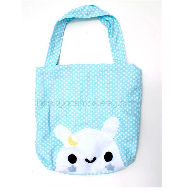 Back to School SALE - Star Bunny Tote Bag - Cute Market Bag, Kawaii ...