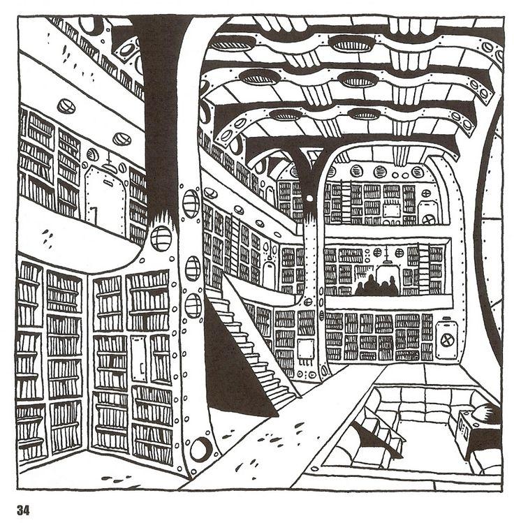 La bibliothèque du Capitaine Nemo | Illustration de Brüno #nautilus