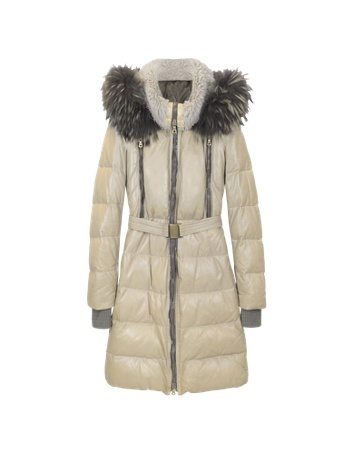 Womens Light Brown Quilted Leather Coat