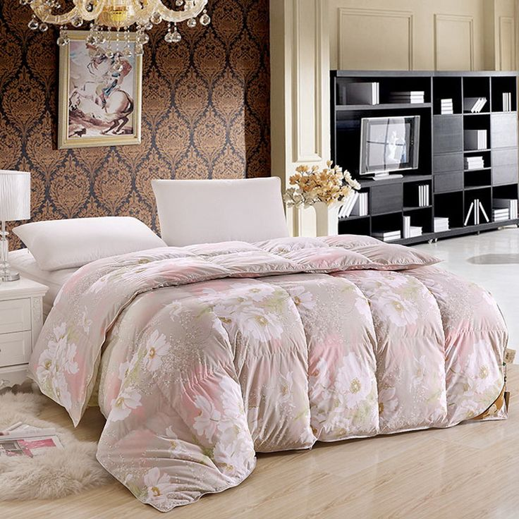Gray comforter with flowers : Flowers blooming gray down comforter comforters