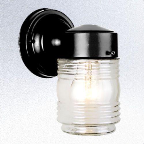 outdoor glass jelly jar porch wall mount light fixture. Black Bedroom Furniture Sets. Home Design Ideas