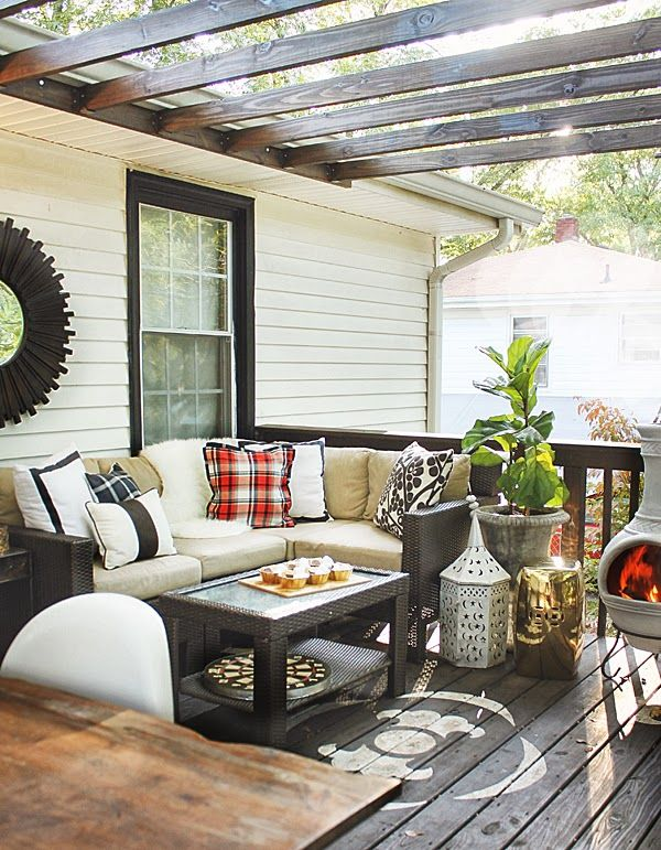 the HUNTED INTERIOR: Modern & Fresh Fall Patio love the plaid and how the porch roof was attached