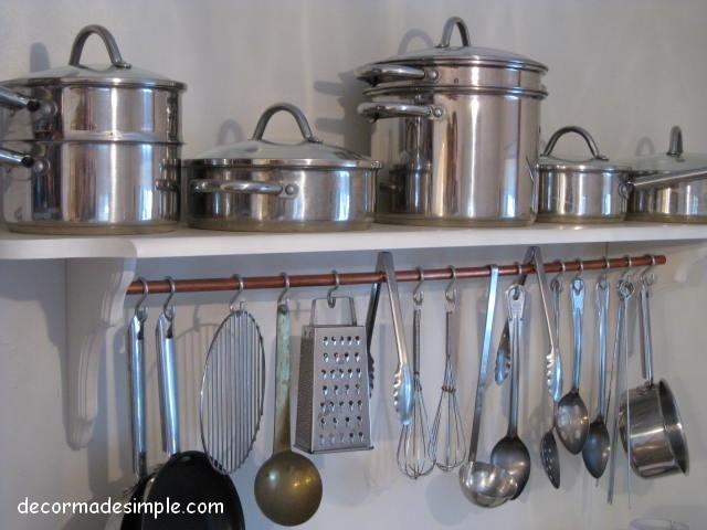 Diy pot rack shelf house decor ideas pinterest for Pot shelf decorating ideas
