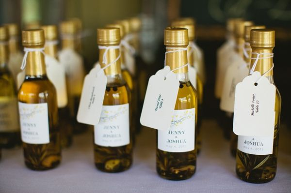 mini wine bottles personalized with the couples name for wedding