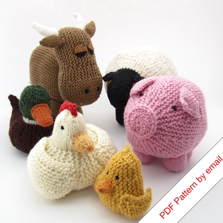 Knitting Patterns eBook. Farm Animal Toys.
