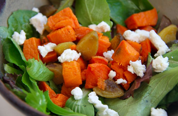 Roasted veggie salad with goat cheese and sweet yams