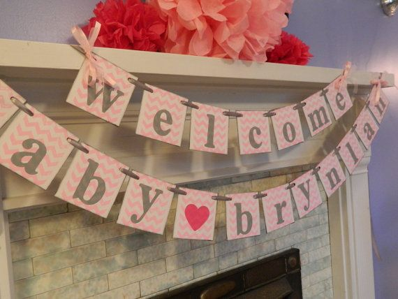 baby shower decorations welcome baby banner chevron baby shower bann