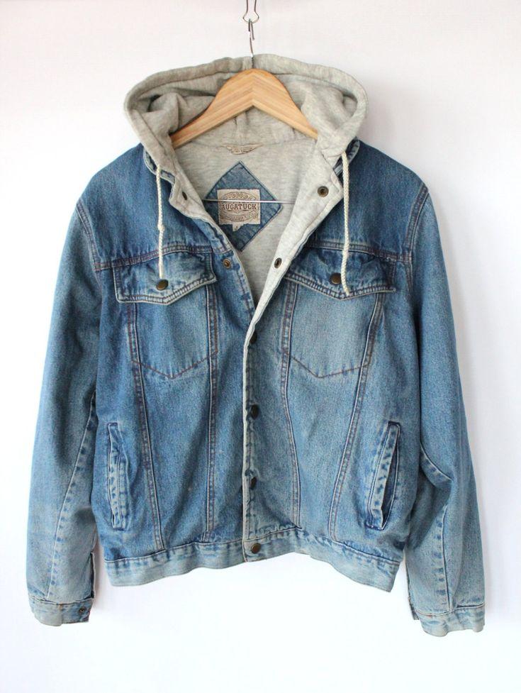 Vintage 80s Men s Denim Hoodie Jacket // Sporty Spring Cotton Jacket