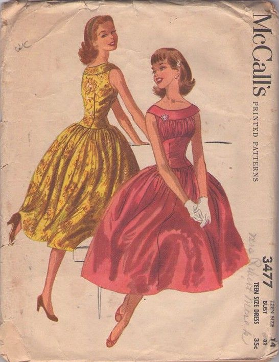 MOMSPatterns Vintage Sewing Patterns - McCall's 3477 Vintage 50's Sewing Pattern DREAM ROCKABILLY Cocktail Party Dress, Shirred Bust, Corset Cinched Wasp Waist Midriff, Full Pleated Skirt UNCUT!