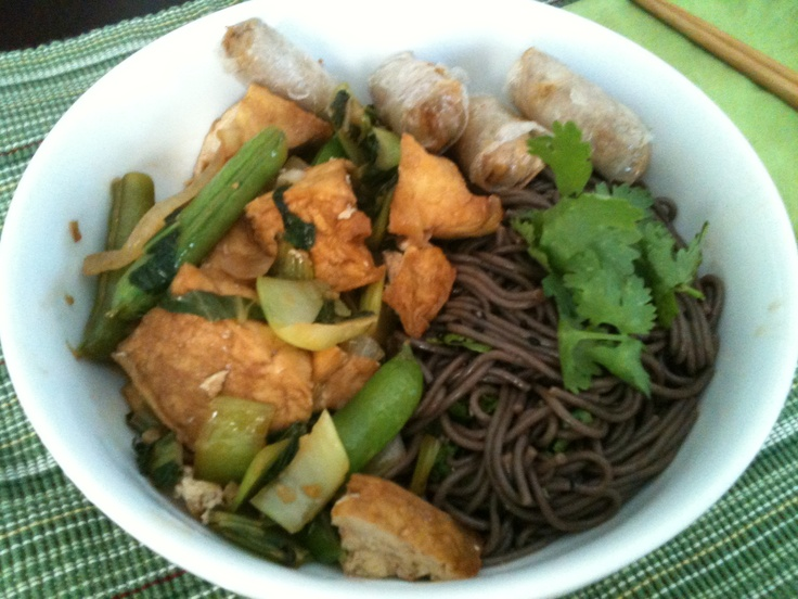 Chilled Soba Noodles, Fried Tofu, Boc Choy, and Snap Peas Sauteed in ...