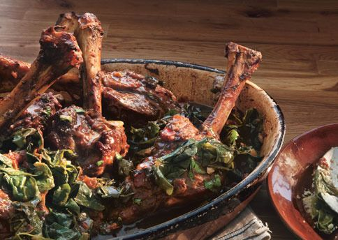 Braised Lamb Shanks with Swiss Chard by Bon Appetit Magazine. Bulgur ...