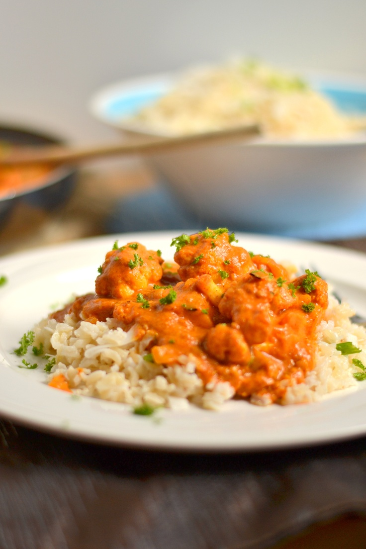 """... Indian """"Butter"""" Cauliflower with Coconut Brown Rice - Food Doodles"""