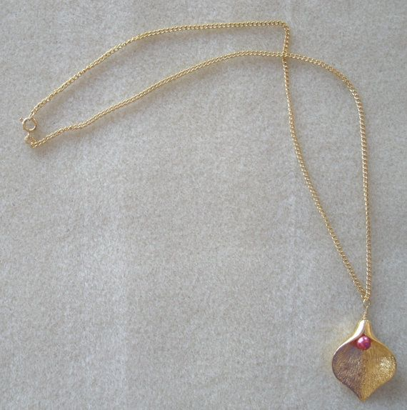 Gold calla lily pendant necklace on etsy 18 00