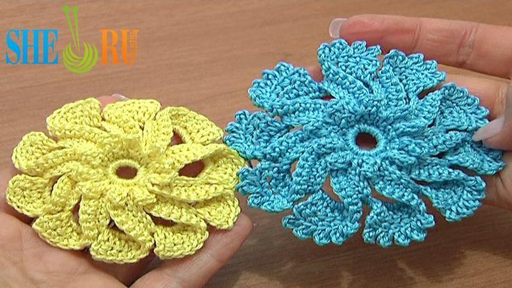 Crochet Flower Tutorial Sheru : 3D Folded Petal Crochet Flower Ruffled Center Tutorial 51 ...