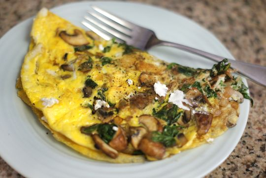 Omelet with organic eggs, mushrooms, onions, spinach & goat cheese