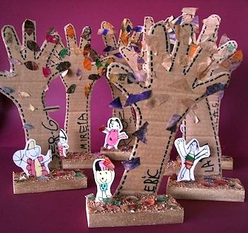 upcycled cardboard handprint tree art