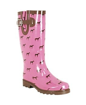 Pink and brown horse-print rain boots I bought at Tractor Supply for $20.00 #boots #horses #rain #pink #brown