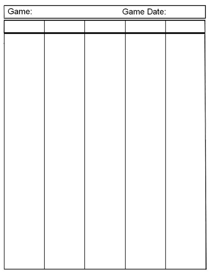 blank 2 column chart template – T-charts Template