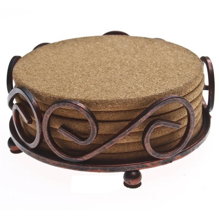 Six Cork Drink Coasters Furniture