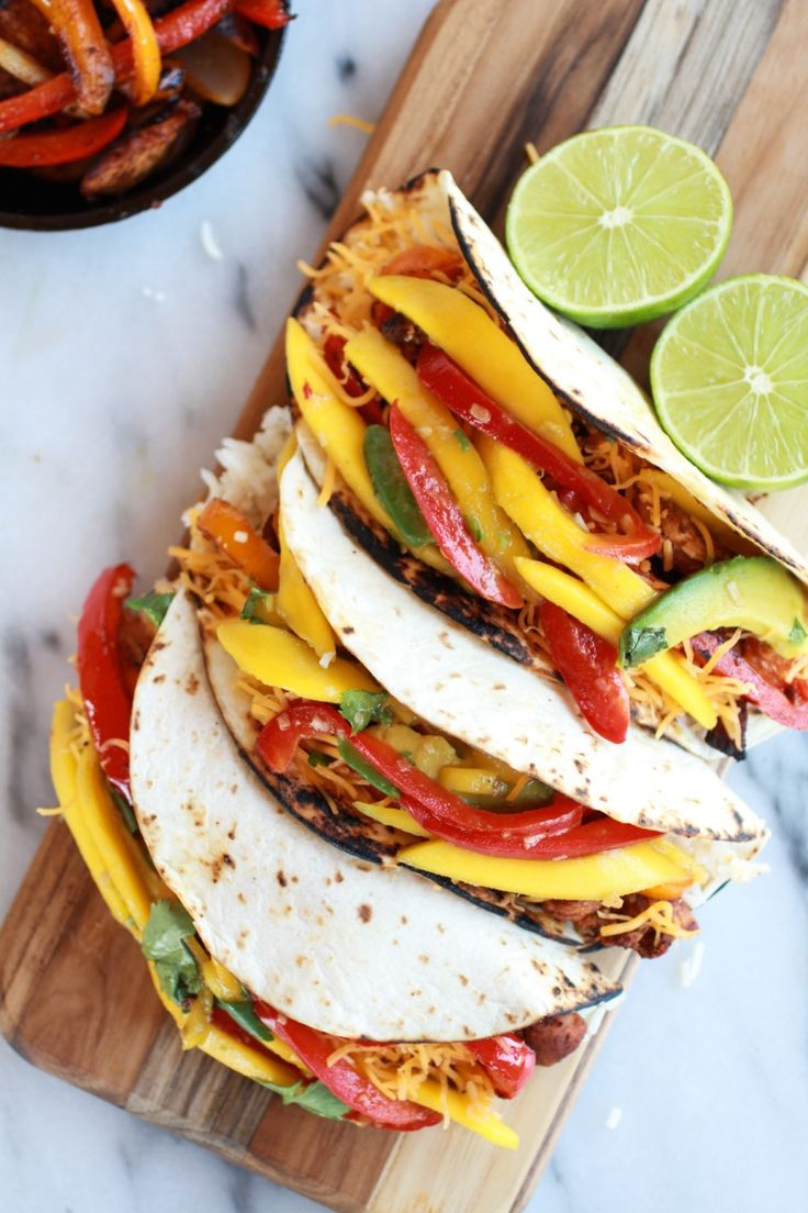 are a must try asap --->Easy Chicken Fajitas with Thai Mango Slaw ...