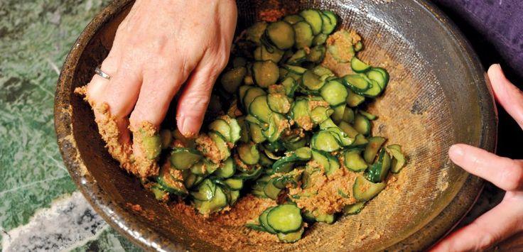 Salt-massaged cucumber with miso and sesame recipe.