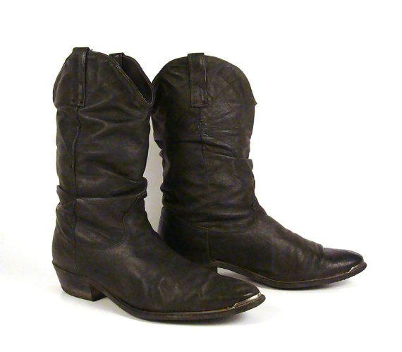 s cowboy boots vintage 1980s black slouch size 10 dingo