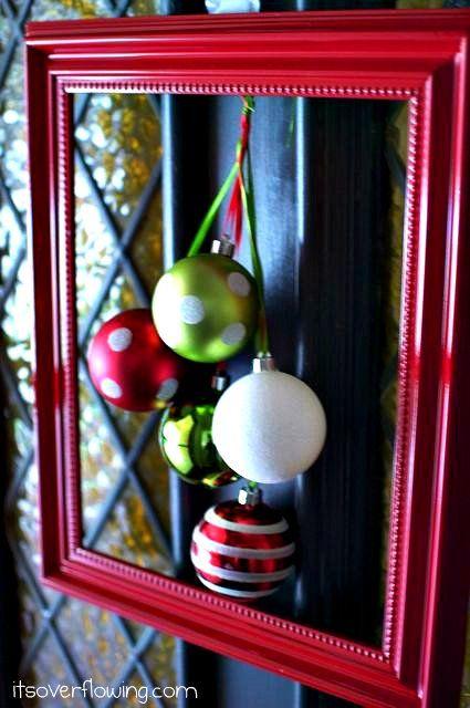 Front door wreath: framed ornaments