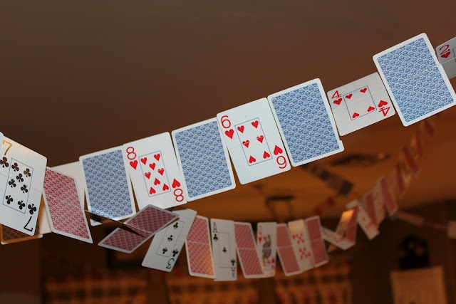 Poker party decorations made from sewing a deck of cards together! So cool!